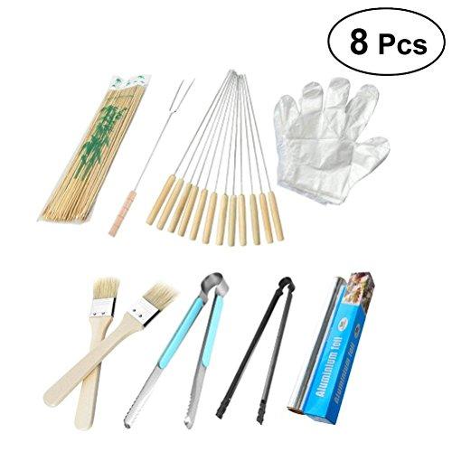 Wdj BBQ Grillbesteck Set 8-Teilig Grill Zubehör Barbecue Grillen Tool Kit Utensilien Werkzeuge Für Outdoor Familien Garten Part - Bbq-zubehör-kit