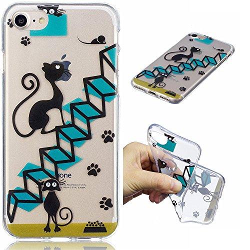 Ooboom® iPhone 5SE Hülle Transparent TPU Silikon Gel Ultra Dünn Schutzhülle Handy Tasche Case Cover für iPhone 5SE - Seehund Katze Schwarz