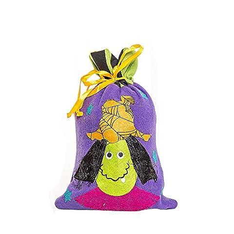 Sac de Bonbons Halloween Sorcières Créatif Corde de Pompage, QinMM Mignon Enfants Sac de Rangement Cadeau (A, Violet)