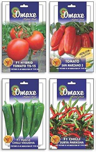 Tradico SUPER Tomate TS / 15, SAN MARZANO, Chilli VASUDHA UND Surya PARIKSHA 4 Pakete Combo / 50 SAMEN Jede Marke Omaxe Verkauft von Super Agri Green (Agro-tomaten-samen)