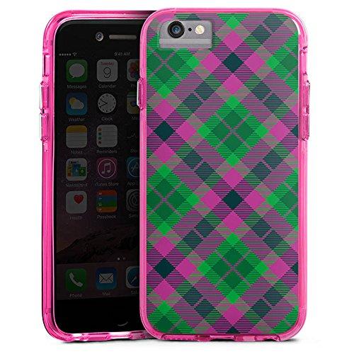 Apple iPhone 6 Plus Bumper Hülle Bumper Case Glitzer Hülle Karo Schotte Green Bumper Case transparent pink