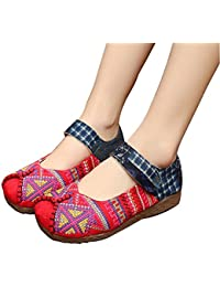 Zapatos bordados a mano de las mujeres cómodo estilo antideslizante antideslizante transpirable solo estilo chino...