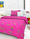 #8: Story@Home Dancing Toys Happiness 136 TC Cotton Single Bedsheet with 1 Pillow Covers - Pink