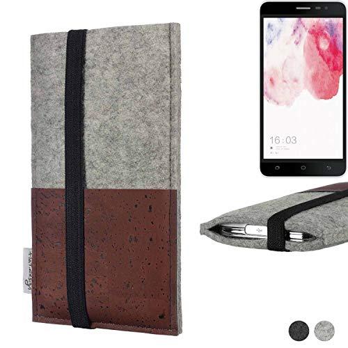 flat.design Handy Hülle Sintra für Hisense F20 Dual-SIM Handytasche Filz Tasche Schutz Kartenfach Case braun Kork