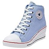 a2f2bb25114 Wealsex Mujer Cuñas Zapatos De Lona High-Top Zapatos Casuales Encaje 6CM  Tacón Cuña (Azul,39)