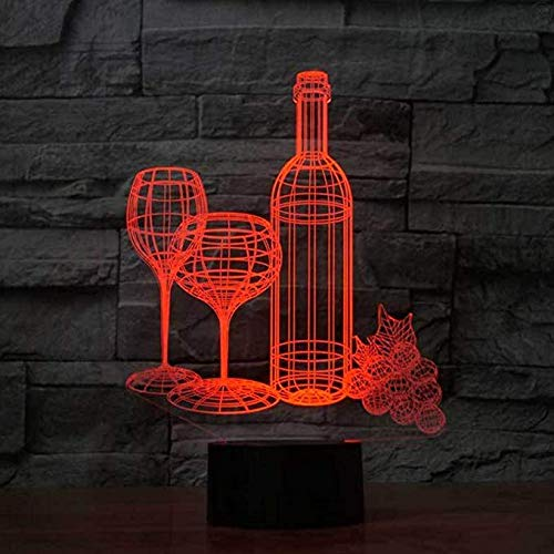 Wangzj Lámpara de ilusión 3d Luz de la noche de pesca/Con 7 colores Intermitentes y Touch Switch Usb Powered/dormitorio Lámpara de escritorio Decoración del hogarBotella de vino Copa