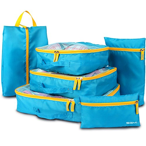Travel Luggage Organizer, Packing Cubes Set, SGM Set of 6 Travel Storage Packing Bags and Compression Pouches With Shoe Bag