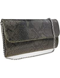 b1a162d80b14a Freyday Echtleder Damen Clutch Tasche Abendtasche Muster Metallic 25x15cm