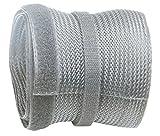 RICOO Kabelkanal Kabelschlauch Z9085G-5 Kabelhalter Kabelmanagement Kabelbinder Klettverschluss Kabeldurchführung Kabel Organizer Klettband Verstecken / 5m Silber Grau