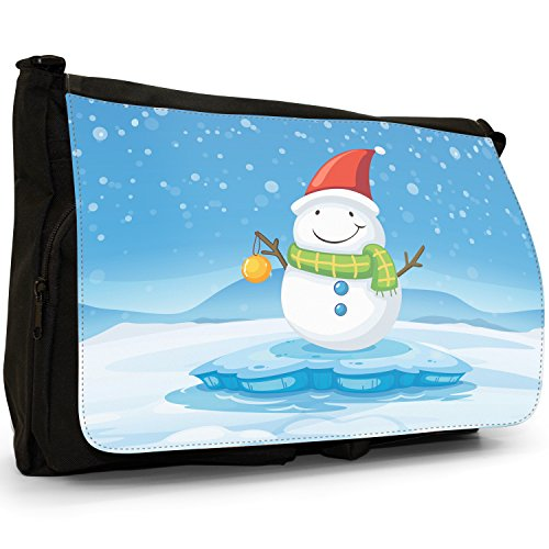 Joyful Christmas Time in neve Grande borsa a tracolla Messenger Tela Nera, scuola/Borsa Per Laptop Happy Snowman With Baubles