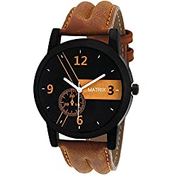 Matrix Casual Analogue Tan Leather Strap Multicolour Dial Men's Watch-WCH-170