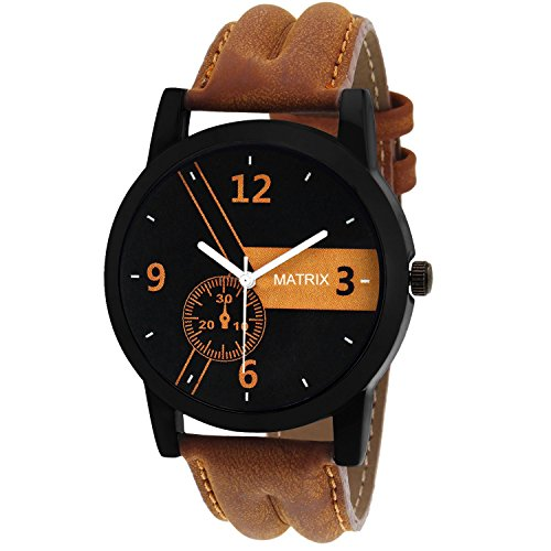 Matrix Casual Analogue Tan Leather Strap Multicolour Dial Men\'s Watch-WCH-170