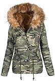 Damen Designer Winter Jacke Camouflage Army Parka Winterjacke Großes Fell B280 (38, Beige)