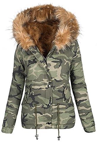 Damen Designer Winter Jacke Camouflage Army Parka Winterjacke großes Fell B280 (36, Beige)