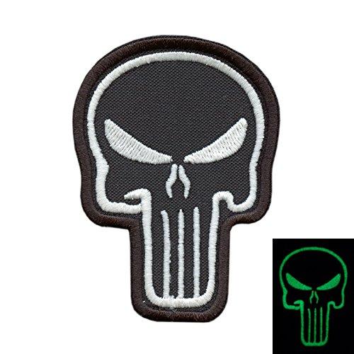Punisher Skull Biker Glow Dark GITD Army ISAF Morale Tactical Fastener Patch