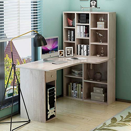 JiaQi Ecke Computertisch,l Förmige- Desk Mit Bücherregalen,Multipurpose Office-Tabelle Studie Lesen Spieltisch Mit Mainframe-Regal-g 120x60x140cm(47x24x55inch) -