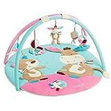 Fehn 081657 3-D-Activity-Decke Esel | Spielbogen mit 5 abnehmbaren Spielzeugen für Babys Spiel & Spaß von Geburt an | Maße: Ø85cm