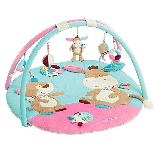 dschungel baby Fehn 081657 3-D-Activity-Decke Esel – Spielbogen mit 5 abnehmbaren Spielzeugen für Babys Spiel & Spaß von Geburt an – Maße: Ø85cm