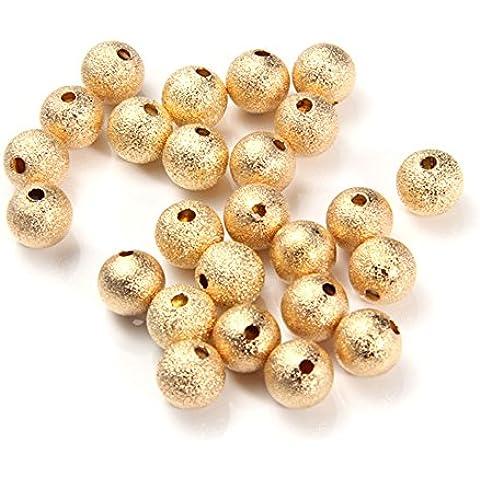 Skyllc® 25 piezas redondas de metal espaciador de los granos flojos de la joyería de fabricación de los accesorios de 10