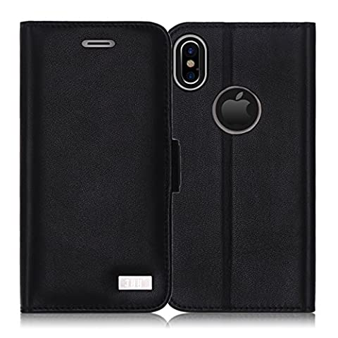 iPhone X Case, iPhone X Cover, Fyy [RFID Blocking Wallet] [Genuine Leather] 100% Handmade Wallet Case Credit Card Protector for Apple iPhone X Edition (2017)