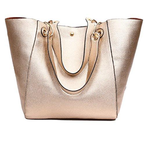 Donna Nuovo Stile Retrò Moda Grande Capacità Colore Solido Spalla Singola Gold