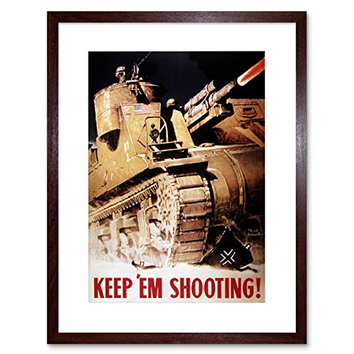 PROPAGANDA WAR WWII USA TANK GUN ARMY HOME DECO FRAMED ART PRINT MOUNT B12X7219 - Art-deco-tank