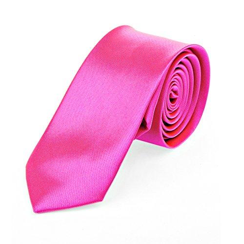 Schmale dünne Krawatte 5cm handgenäht Polyester (pink-uni)
