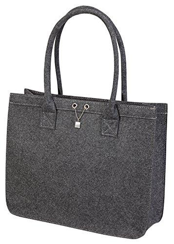 Feltro borsa per la spesa/Shopping Bag in robusto feltro con rimovibile Organizer interno con cerniera, grigio grigio