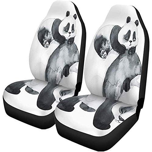 Satz Von 2 Autositzbezügen Bär Und Das Baby Aquarell Technik China Tiere Auto Vordersitze Protector Passt Für Auto, Suv Limousine, Lkw