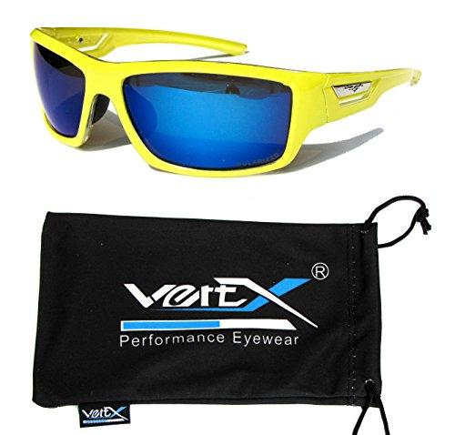VertX Herren polarisierte Sonnenbrille Sport Radfahren laufen im freien – Neon Gelber Rahmen – Blaue Linse