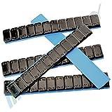 50 Contrapesos NEGRO 12x5g 3Kg Pesos adhesivos Pesos de acero Tira adhesiva 60g mit BORDE DE CORTE galvanizado & plástico cubierto KG negro 5gx12 6kg