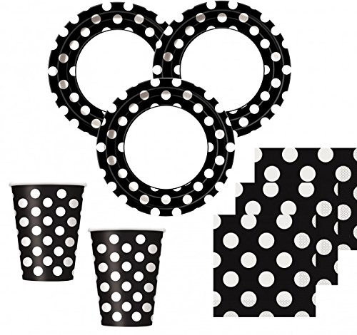 50 Teile Party Set Schwarz mit weißen Punkten für 16 Personen (Weiße Kostüm Für Eine White Party)
