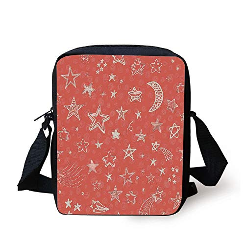CBBBB Star,Moon and Stars Theme Pattern Starry Night Shooting Stars Space Galaxy Kids Style,Coral White Print Kids Crossbody Messenger Bag Purse 6 Cell White Star