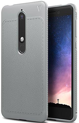 Nokia 6 2018 Hülle, iBetter Slim Weiches Stoßsicheres Gehäuse mit Spezial-Hexagon Texture Schutzhülle Soft Hüllen Handyhülle für Nokia 6 Dual SIM Smartphone VERSION 2018(Grau)