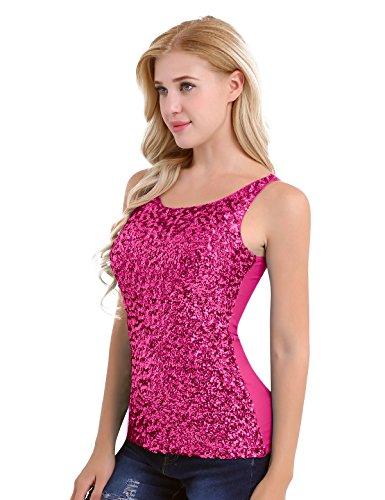 YiZYiF Femme Paillettes Gilet Tops Bretelle T-Shirt Sans Manches Col Rond Vest Tank Tops Clubwear Taille Unique Rose