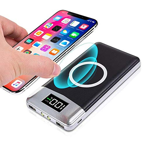 GreatCool LED Wireless Charger Ladegerät Power Bank,2 in 1 Kabellos Qi-Ladegerät und Tragbare 10000mAh Powerbank Externer Akku Charging für iPhone X iPhone 8 plus Samsung Galaxy S9 S8 S7 S6 Note 5