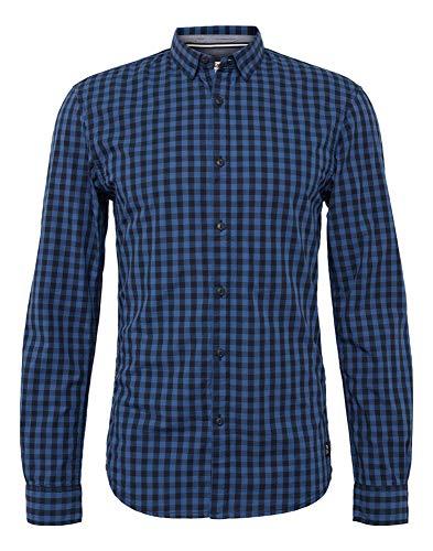 TOM TAILOR Denim Herren Freizeithemd Freizeit Hemd mit Langarm und Vichy Karo Optik, Blau Blue 15328, Medium (Herstellergröße: M)