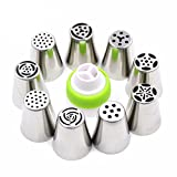 #8: Zollyss Stainless Steel Icing Nozzles with 1 Coupler for Decorating Cupcake Pastries Desserts Tarts Pie (Assorted) - Set of 9