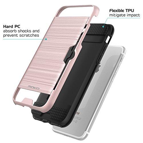 MoKo Hülle für iPhone 8 / 7 - [Ultra Slim Serie] Superleicht Flexible TPU Handy Schutzhülle Schale Bumper Phone Case für Apple iPhone 8 2017 / iPhone 7 Smartphone, Schwarz Rose Gold