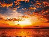 Artland Kunstdruck I Poster Songchai W Sonnenuntergang am Strand mit wunderschönem Himmel Landschaften Sonnenuntergang Fotografie Orange A7QS