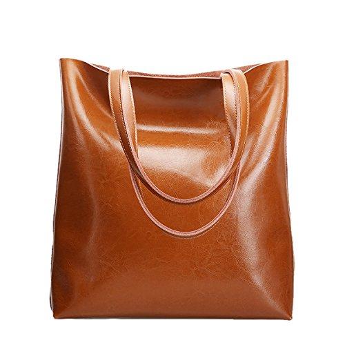Dissa Q0807 Damen Leder Handtaschen Satchel Tote Taschen Schultertaschen Braun