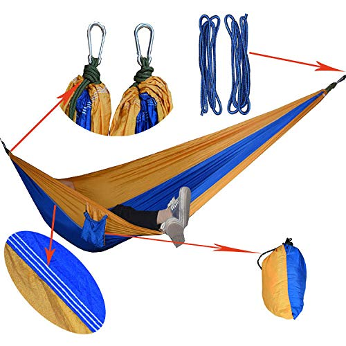 Portable Camping Hammock Single Double Ultralight Parachute Upgrade Color Matching Nylon to Increase Long Outdoor Camping Supplies Swing,@B - Single Rope Swing