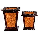 Craft Trade Handmade Multicolor Wooden Leaf Flower Pot ( Set Of 2 )