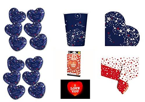 Dolce 12 Licht (Koordinierte Love Message Valentinstag Thema Liebe Verliebte CDC Kit. 27-(12Teller, 16Becher, 16Servietten, 1Ball Herzform mit Licht LED))