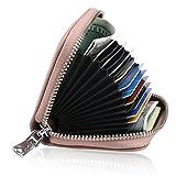 RFID Geldbörs,KQueenStar RFID Schutz Echtes Leder Brieftasche für Damen (Rosa)