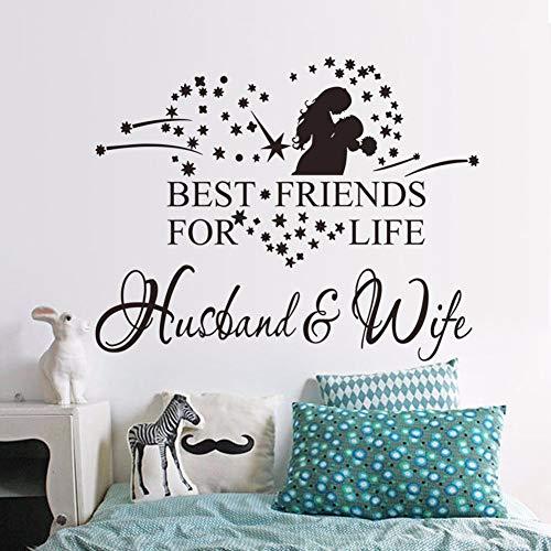 jiuyaomai Vinyl Wandkunst Aufkleber Liebe Paar Wandaufkleber Mann Und Frau Beste Freunde Für Das Leben Zitat Wand Poster Wohnzimmer Dekor grau 57x45 cm