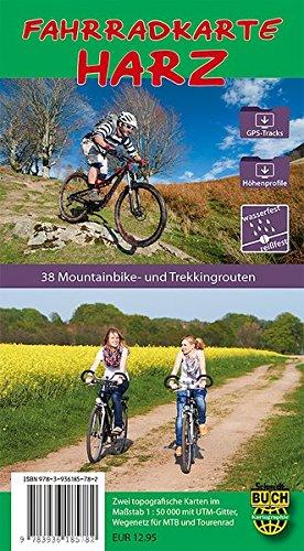Preisvergleich Produktbild Fahrradkarte Harz - wetterfest: Zwei topografische Karten mit Wegen und Routen-Vorschlägen für Mountain- und Trekkingbike