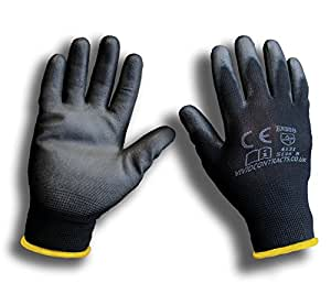 1pair pu coated black nylon work gloves ideal for for Gardening gloves amazon