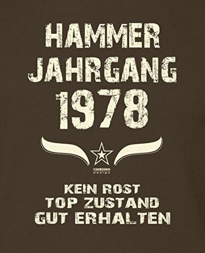 Modisches 39. Jahre Fun T-Shirt zum Männer-Geburtstag Hammer Jahrgang 1978 Ideale Geschenkidee zum Jubeltag Farbe: braun Braun