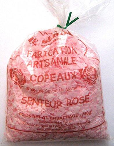 Copeaux de savon de Marseille parfumés Rose 750G - La lessive la plus économique ! Paillettes de savon pour votre lessive, lavage du linge délicat. Ecologique et naturel. Savonnerie artisanale.